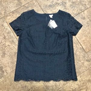 JCREW NAVY BLUE RAINDROP LACE T-SHIRT TOP